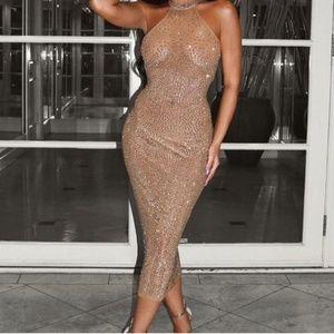 NWT Fashion nova glow up rhinestone dress